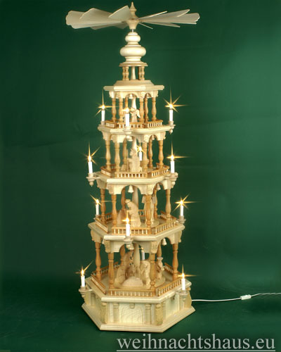 Seiffen Weihnachtshaus - 4 Stock Barockpyramide 139 cm mit Krippefiguren natur - Bild 1