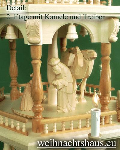 Seiffen Weihnachtshaus - 4 Stock Barockpyramide 139 cm mit Krippefiguren natur - Bild 3