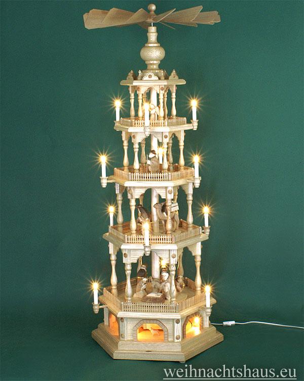 Seiffen Weihnachtshaus - 5 Stock Zaunpyramide 138 cm mit Krippefiguren braun - Bild 1