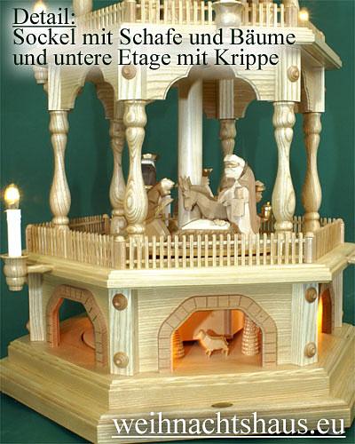 Seiffen Weihnachtshaus - 5 Stock Zaunpyramide 138 cm mit Krippefiguren braun - Bild 2