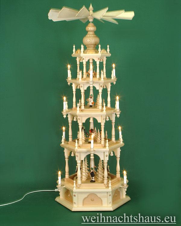 Seiffen Weihnachtshaus - 4 Stock Stufenpyramide 136 cm mit Erzgebirgsfiguren - Bild 1