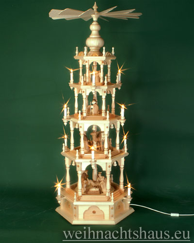Seiffen Weihnachtshaus - 4 Stock Stufenpyramide 136 cm mit Krippefiguren braun - Bild 1