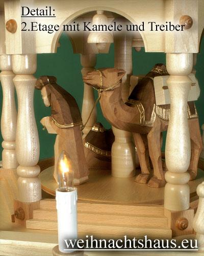 Seiffen Weihnachtshaus - 4 Stock Stufenpyramide 136 cm mit Krippefiguren braun - Bild 3