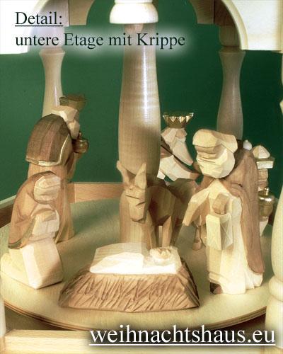 Seiffen Weihnachtshaus - 4 Stock Stufenpyramide 136 cm mit Krippefiguren braun - Bild 2