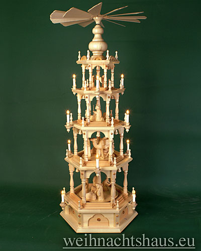 Seiffen Weihnachtshaus - Weihnachtspyramide 136 cm Pyramide elektrisch beleuchtet 4 Stock Stufen mit Krippefiguren natur - Bild 1