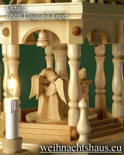 Seiffen Weihnachtshaus - Weihnachtspyramide 136 cm Pyramide elektrisch beleuchtet 4 Stock Stufen mit Krippefiguren natur - Bild 3