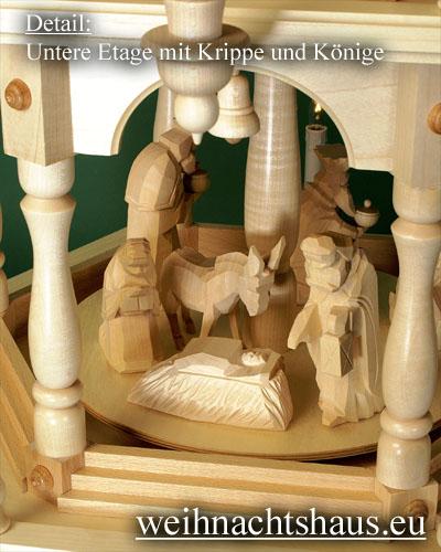 Seiffen Weihnachtshaus - Weihnachtspyramide 136 cm Pyramide elektrisch beleuchtet 4 Stock Stufen mit Krippefiguren natur - Bild 2