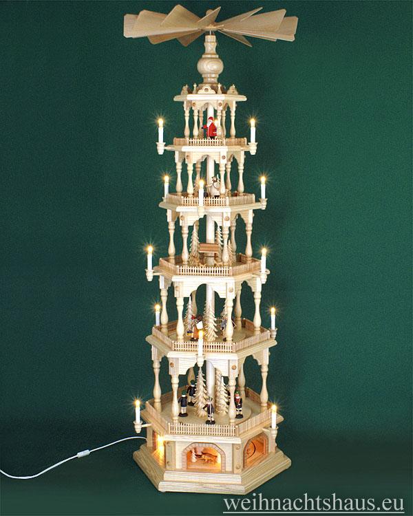Seiffen Weihnachtshaus - 6 Stock Zaunpyramide 170 cm mit Erzgebirgischen Figuren - Bild 1