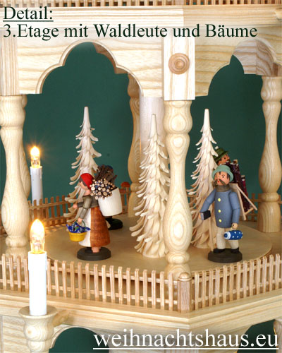 Seiffen Weihnachtshaus - 6 Stock Zaunpyramide 170 cm mit Erzgebirgischen Figuren - Bild 2