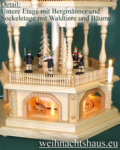 Seiffen Weihnachtshaus - 6 Stock Zaunpyramide 170 cm mit Erzgebirgischen Figuren - Bild 3
