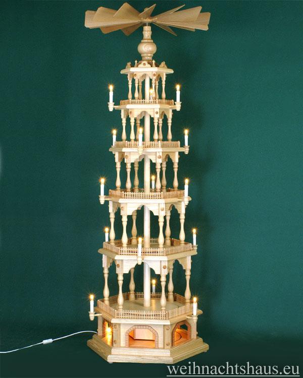 Seiffen Weihnachtshaus - 6 Stock Zaunpyramide 170 cm ohne Figuren mit Drehscheibe im Sockel - Bild 1