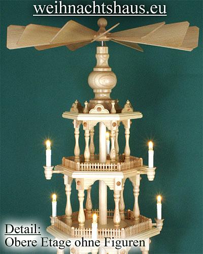 Seiffen Weihnachtshaus - 6 Stock Zaunpyramide 170 cm ohne Figuren mit Drehscheibe im Sockel - Bild 3