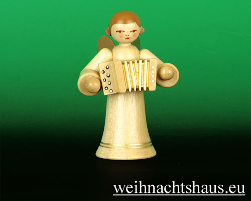 Seiffen Weihnachtshaus - Musikantenengel natur Akkordeon - Bild 1