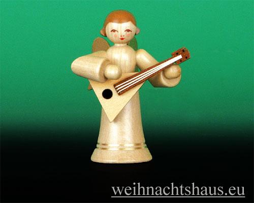 Seiffen Weihnachtshaus - Musikantenengel natur Balalaika - Bild 1