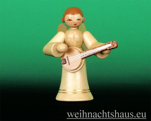Seiffen Weihnachtshaus - Musikantenengel natur Banjo - Bild 1