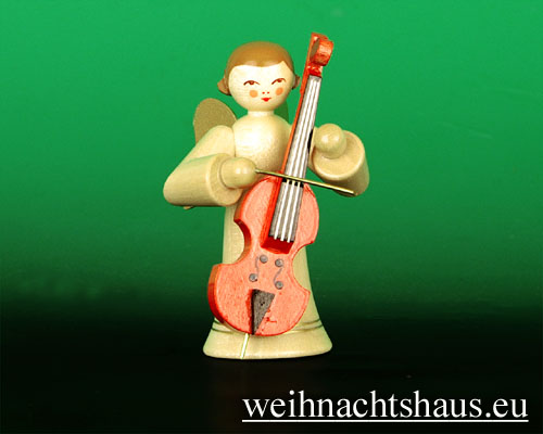Seiffen Weihnachtshaus - Musikantenengel natur Baßgeige - Bild 1