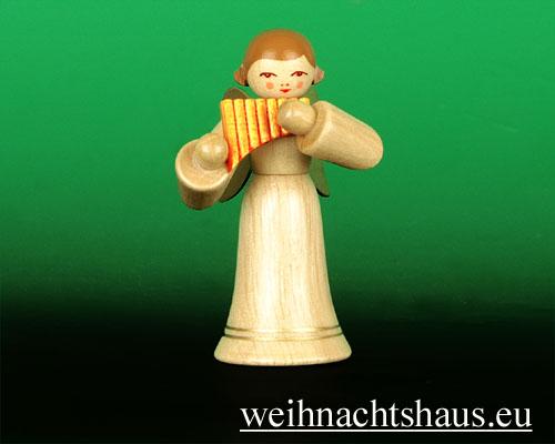 Seiffen Weihnachtshaus - Musikantenengel natur Panflöte - Bild 1