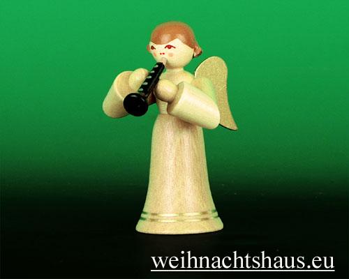 Seiffen Weihnachtshaus - Musikantenengel natur Klarinette - Bild 1