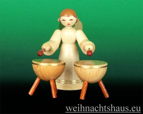 Seiffen Weihnachtshaus - Musikantenengel natur Kesselpauke - Bild 1