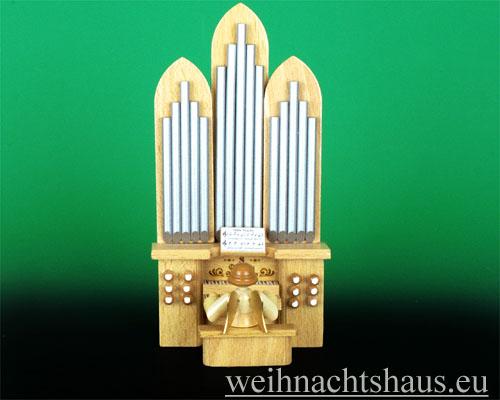 Seiffen Weihnachtshaus - Musikantenengel natur Orgel - Bild 1
