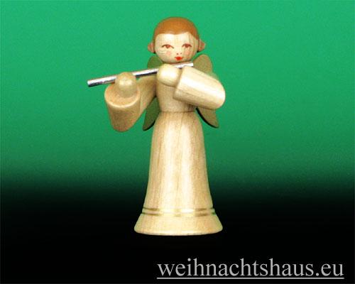 Seiffen Weihnachtshaus - Musikantenengel natur Querflöte - Bild 1