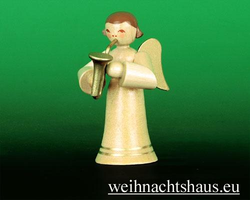 Seiffen Weihnachtshaus - Musikantenengel natur Saxophon - Bild 1