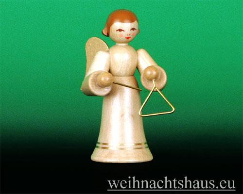 Seiffen Weihnachtshaus - Musikantenengel natur Triangel - Bild 1