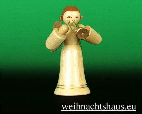 Seiffen Weihnachtshaus - Musikantenengel natur Trompete - Bild 1