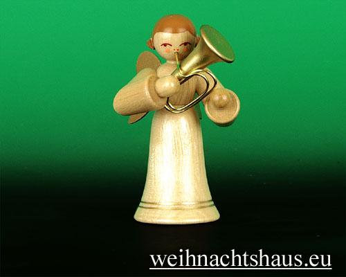 Seiffen Weihnachtshaus - Musikantenengel natur Tuba - Bild 1