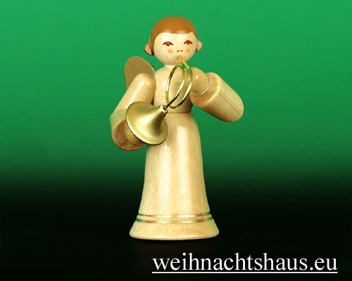 Seiffen Weihnachtshaus - Musikantenengel natur Waldhorn - Bild 1