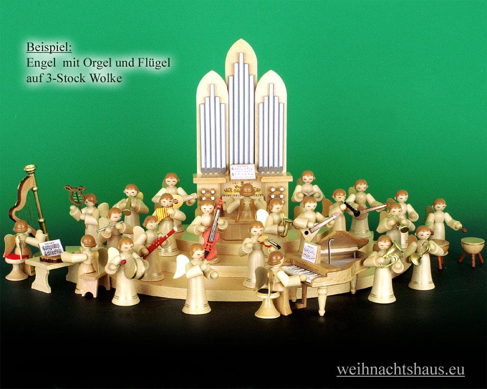 Seiffen Weihnachtshaus - Musikantenengel natur Orgel - Bild 3