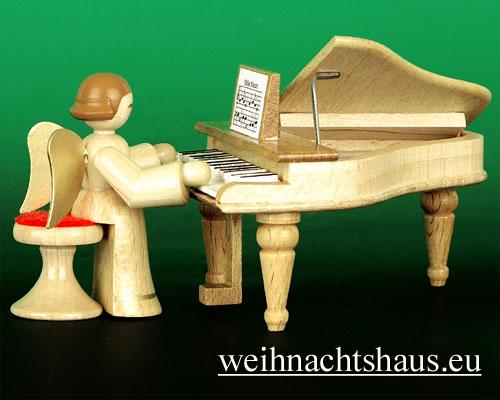 Seiffen Weihnachtshaus - Musikantenengel natur Flügel - Bild 1