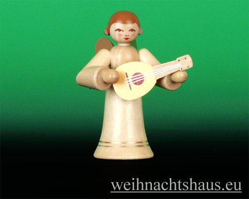 Seiffen Weihnachtshaus - Musikantenengel natur Mandoline - Bild 1
