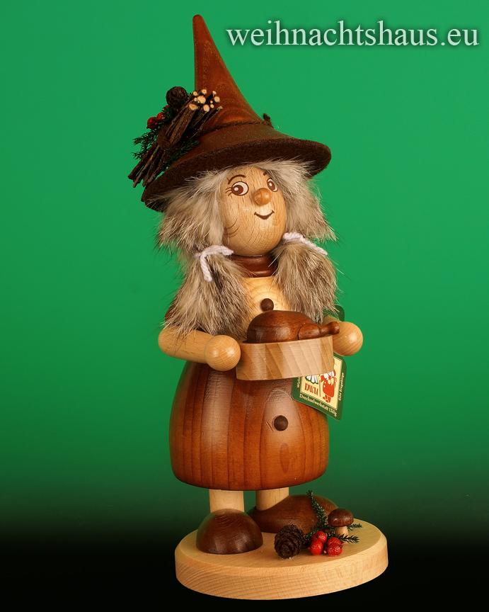 Seiffen Weihnachtshaus - <!--03-->Räucherfrau mit Pfanne Wichtelfrau groß Gänsebraten - Bild 1