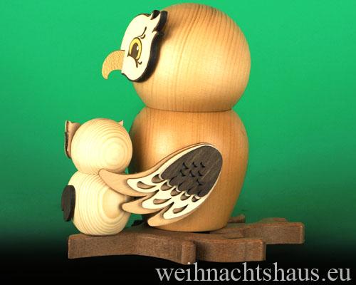 Räuchereule Eulen Kuhnert Kuhnerteulen Räuchermann Eule mit Kind aus Holz Erzgebirgische Holzeule