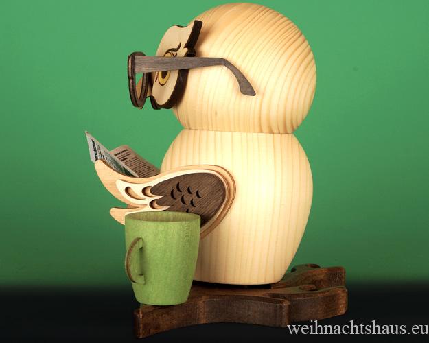 Seiffen Weihnachtshaus - <!--11-->Räuchermann Eule aus Holz Erzgebirge Brileneule - Bild 2
