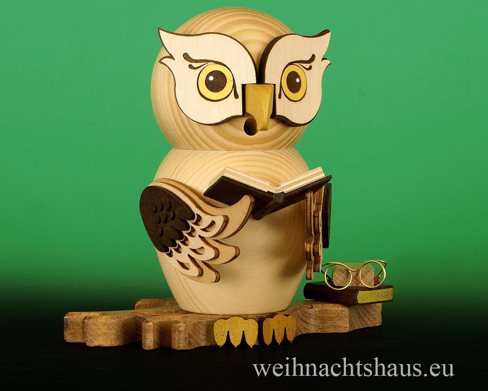 Seiffen Weihnachtshaus - <!--11-->Räuchermann Eule aus Holz Erzgebirge Büchereule - Bild 1
