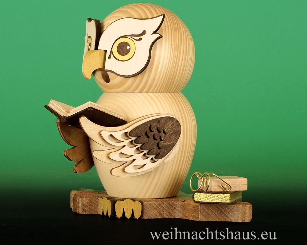 Seiffen Weihnachtshaus - <!--11-->Räuchermann Eule aus Holz Erzgebirge Büchereule - Bild 2