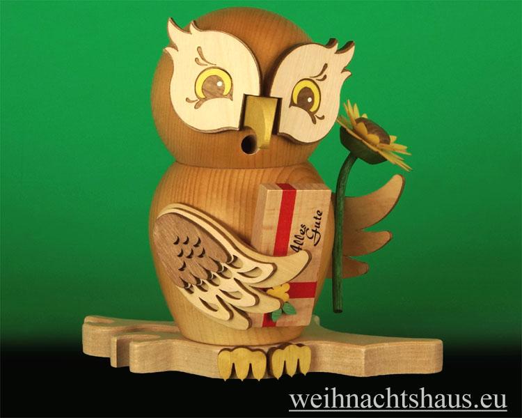 Seiffen Weihnachtshaus - <!--11-->Räuchermann Eule aus Holz Erzgebirge Gratulant - Bild 1