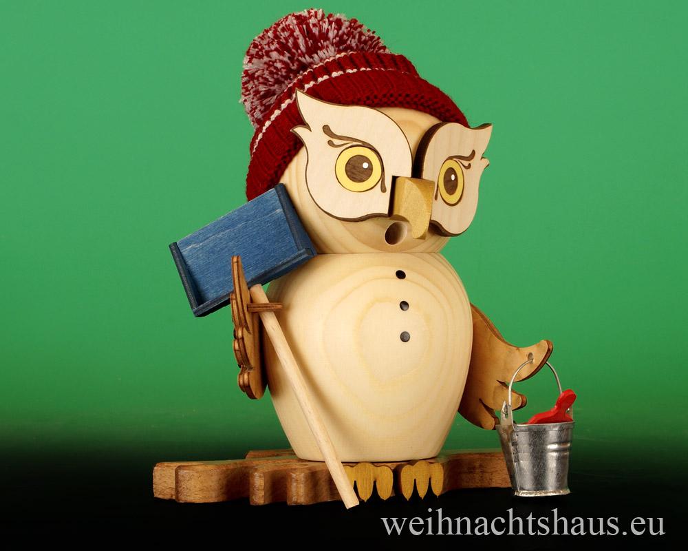 Seiffen Weihnachtshaus - <!--11-->Räuchermann Eule aus Holz Erzgebirge Schneefeger - Bild 1