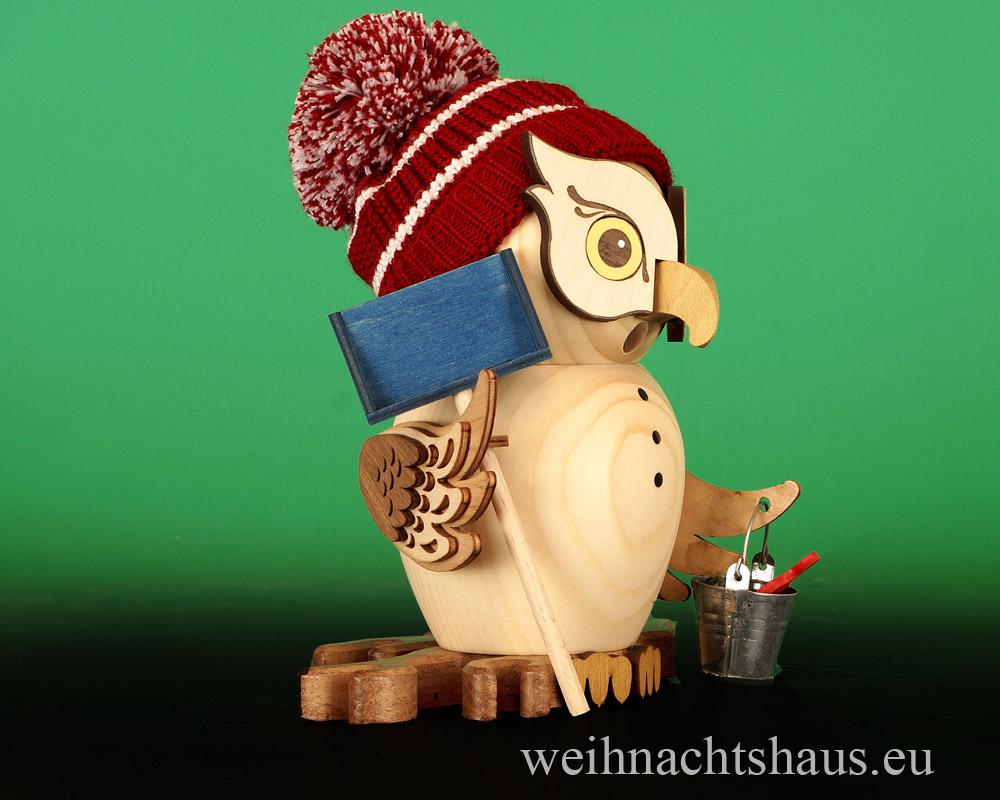 Seiffen Weihnachtshaus - <!--11-->Räuchermann Eule aus Holz Erzgebirge Schneefeger - Bild 2