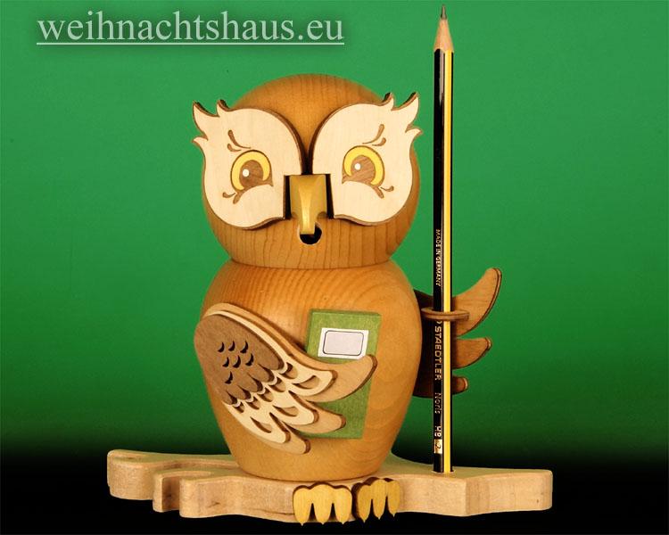 Seiffen Weihnachtshaus - <!--11-->Räuchermann Eule aus Holz Erzgebirge Schüler - Bild 1