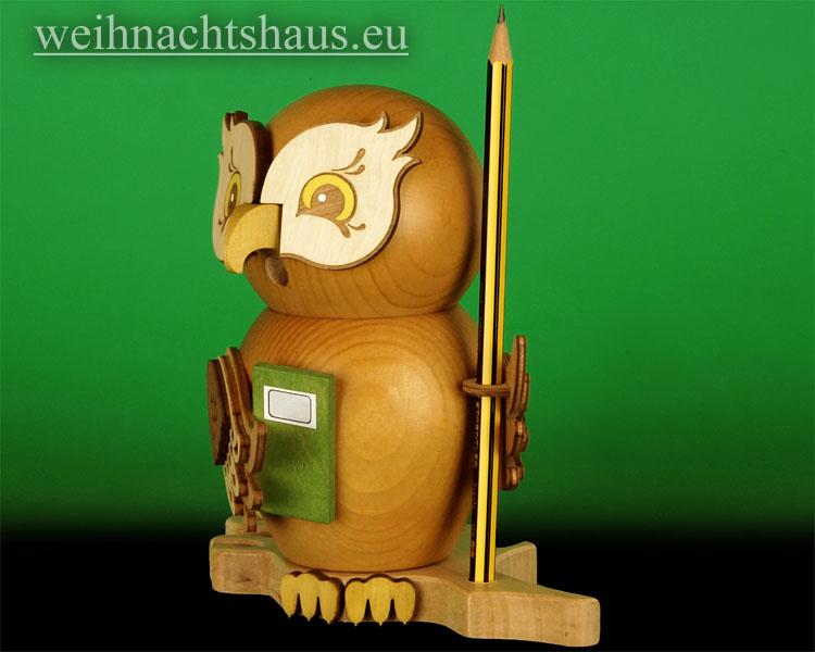 Seiffen Weihnachtshaus - <!--11-->Räuchermann Eule aus Holz Erzgebirge Schüler - Bild 2
