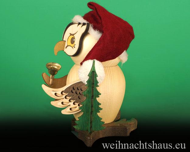 Erzgebirge Eulen Weihnachtsmanneule Eule Holzeule Räuchermann Eule aus Holz Erzgebirgische Weihnachtseule