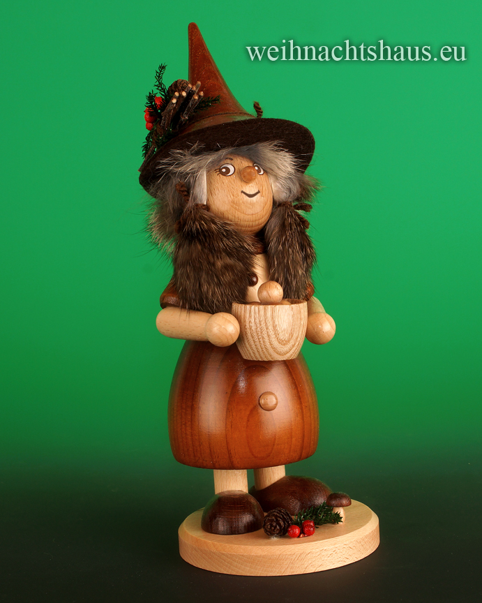 Seiffen Weihnachtshaus - <!--03-->Räucherfrau mit Klößen Wichtelfrau groß  Kloßfrau - Bild 1