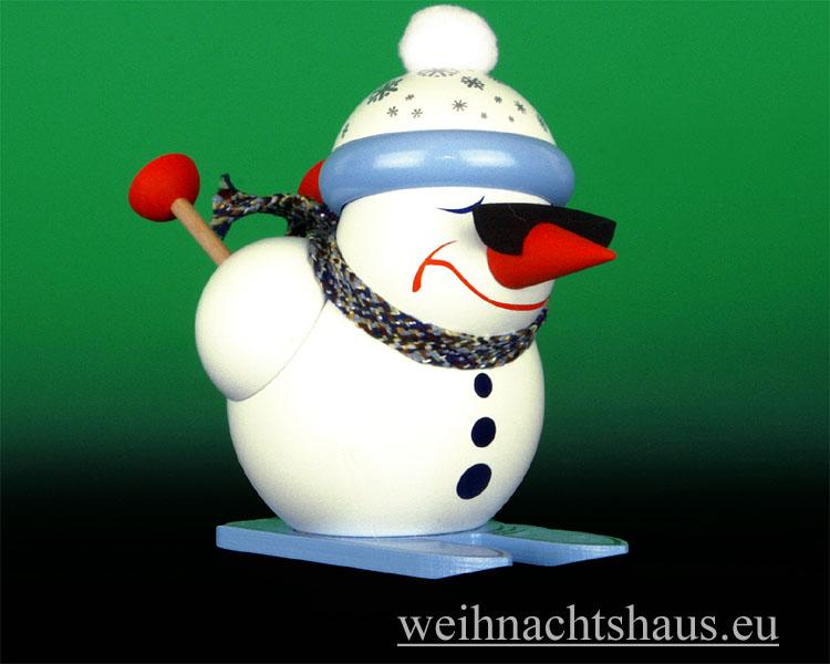 Seiffen Weihnachtshaus - <!--13-->Räuchermann Erzgebirge, Schneemann Abfahrtsläufer - Bild 1