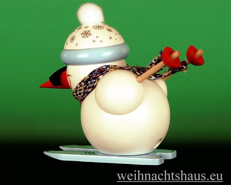 Seiffen Weihnachtshaus - <!--13-->Räuchermann Erzgebirge, Schneemann Abfahrtsläufer - Bild 2
