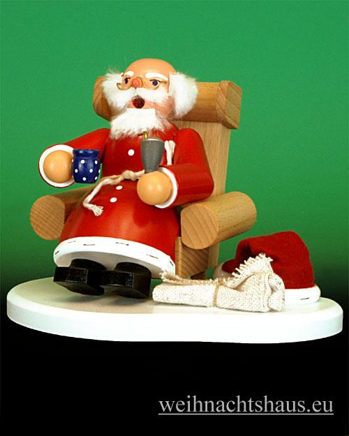 Seiffen Weihnachtshaus - <!--31-->Räuchermann Weihnachtsmann im Sessel Erzgebirge - Bild 1