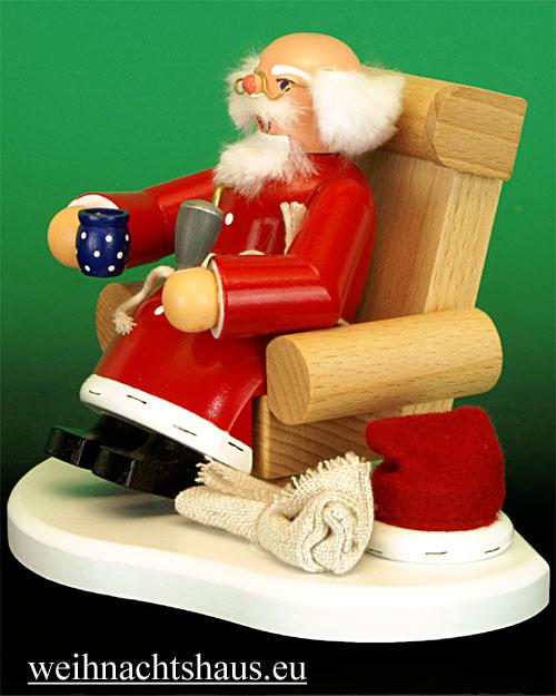 Seiffen Weihnachtshaus - <!--31-->Räuchermann Weihnachtsmann im Sessel Erzgebirge - Bild 2