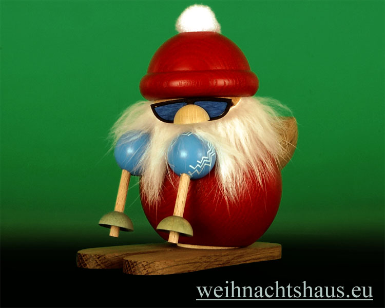 Seiffen Weihnachtshaus - <!--13-->Räuchermann Erzgebirge, Weihnachtsmann auf Ski - Bild 1